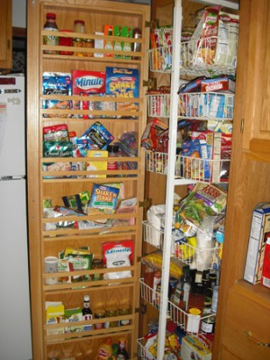 The pull-out pantry shelves in my kitchen (yeah, I know they're a mess)