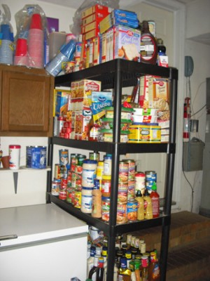 The flip side of that shelf, canned goods, mixes, sauces, dressings, etc.