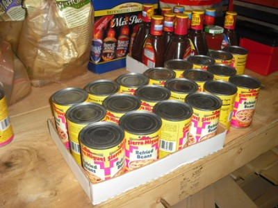 A freecycle find -- 2 cases of refried beans!