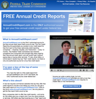 federal trade commission page on free annual credit reports