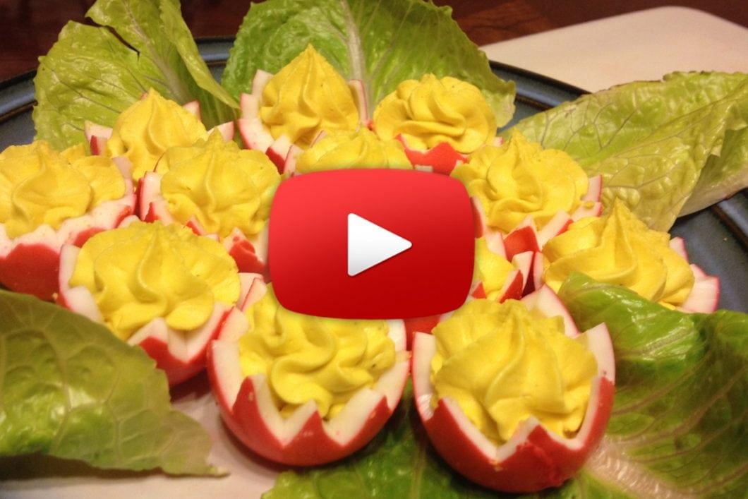 Easter Appetizers - Deviled Egg Tulips
