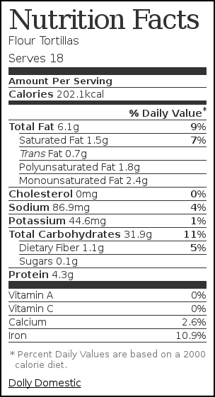 Nutrition label for Flour Tortillas