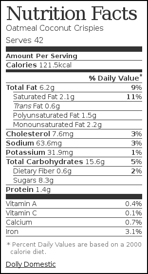 Nutrition label for Oatmeal Coconut Crispies