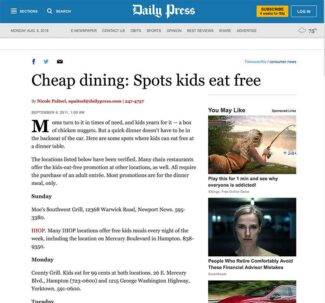 screenshot of daily press article being linked to