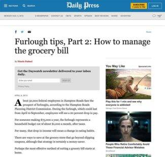screenshot of daily press article about saving money on groceries